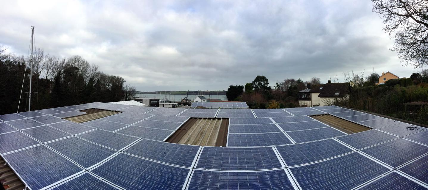 Solar PV installation at Mylor Yacht Harbour