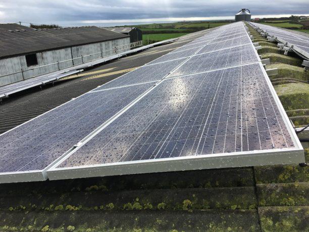 158 JA Solar panels at a Lizard installation, Cornwall.
