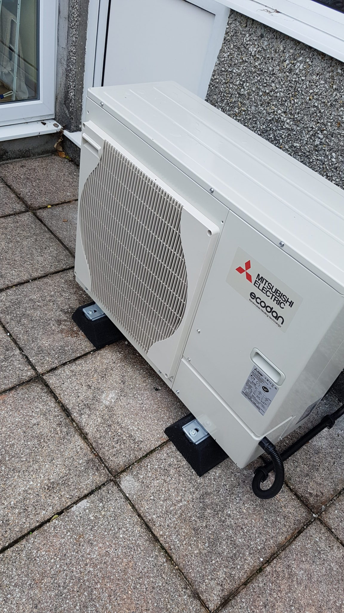 Mitsubishi's 5kW air source heat pump unit, installed in The Lizard.