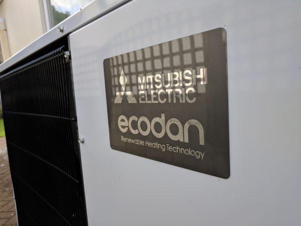A new 8.5kW UItra Quiet Mitsubishi Ecodan air source heat pump unit.