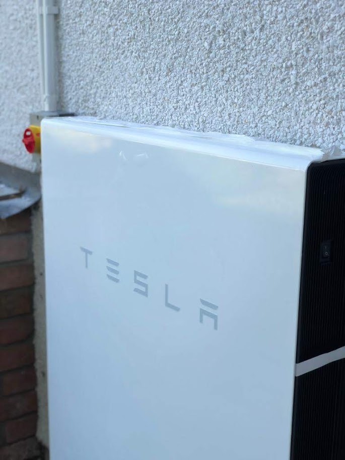 A Tesla Powerwall battery storage install in Perranwell.