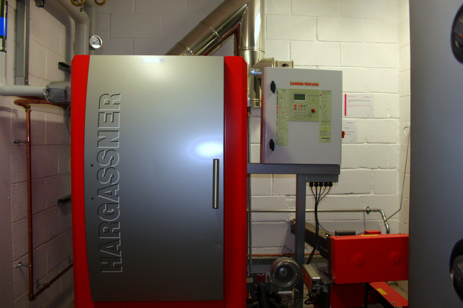 commercial biomass boiler installed at Duchy College, Cornwall